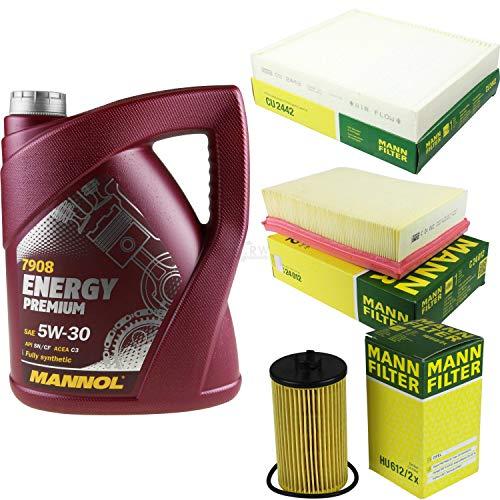 Filter Set Inspektionspaket 5 Liter MANNOL Motoröl Energy Premium 5W-30 API SN/CF MANN-FILTER Luftfilter Innenraumfilter Ölfilter