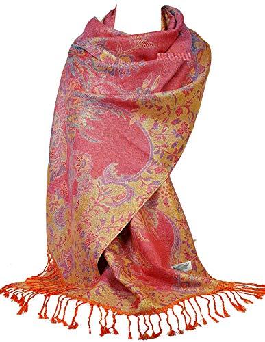 GFM GFM Pashmina-Schal, Blumenmosaik Gr. 90, S16-5flr-ghglb - Dark Pink