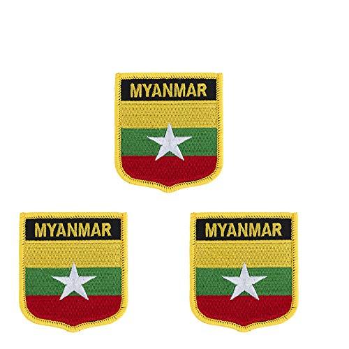 Patch zum Aufbügeln oder Aufnähen, Myanmar-Flagge, bestickt, Schild-Form, 3 Stück