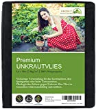 KRONLY Unkrautvlies 1,6 x10m - Gartenvlies als Gartenfolie, Mulchfolie und Unkrautfolie 50g/m² wasserdurchlässig atmungsaktiv Garden Fleece