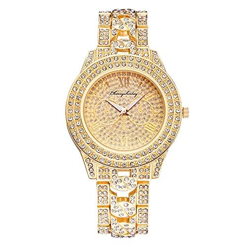 Reloj de Moda Reloj de Acero Inoxidable Vestido Casual Cristal de muñeca(Oro)