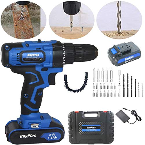 Cordless Drill Set- 29 Piece Kit, 21 Volt Power Tool with Bits Set, Sockets, Drivers, Battery Quick Charger Compact Drill Driver Combo Kit, Variable Speed & Built-in LED Light, Electric Hammer Drill