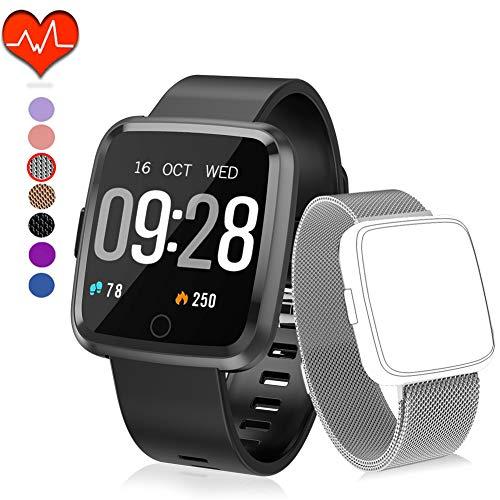 Polywell Fitness Armbanduhr mit Herzfrequenz, Fitness Tracker, Bluetooth Sportuhr Aktivitätstracker Schrittzähler, Schlaf Monitor, Kalorienzähler[2 x Replaceable Watch Strap] (Silver + Silver Strap)