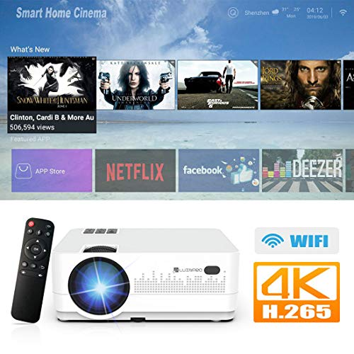 Android Projector, LUXNPRO Video Projector LCD Mini Projector,2019 Upgraded 3500 Lux, Supports 1080P, WiFi,HDMI, USB, VGA, AV Devices for Home Theater Laptop Game Party