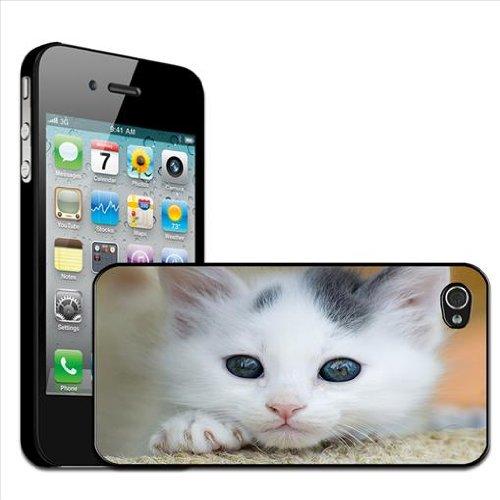 Fancy A Snuggle rugcover voor Apple iPhone 4, 4S, witte katjes op tapijt