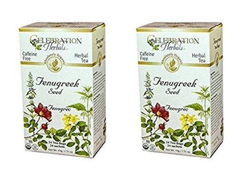 Celebration Herbals - Organic Caffeine Free Fenugreek Seed Herbal Tea - 48 Tea Bags (2 packs of 24)