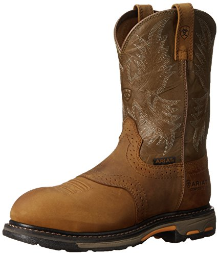 Ariat Men's Workhog Pull-on Composite Toe Work Boot, Aged Bark/Army Green, 9.5 D US