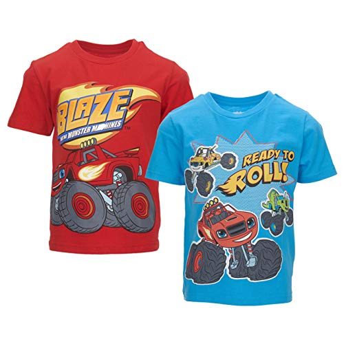 Nickelodeon Blaze and The Monster Machines Toddler Boys 2 Pack T-Shirts 4T Red/Blue