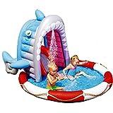 YUESFZ Piscinas hinchables Castillo De Diapositivas De Tiburón De Boca Grande, Fuente para Niños De Fiesta De Cumpleaños, Piscina Infantil De Dibujos Animados Familiares, Parque De Atracciones