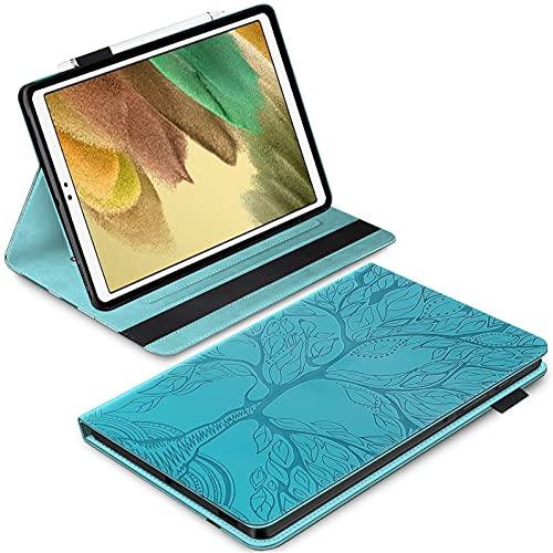 BAOWEI Funda compatible con Samsung Galaxy Tab A de 10,1 pulgadas 2019 T510/T515, parte trasera de TPU suave, cubierta de piel sintética, función atril, con soporte para bolígrafo, color azul