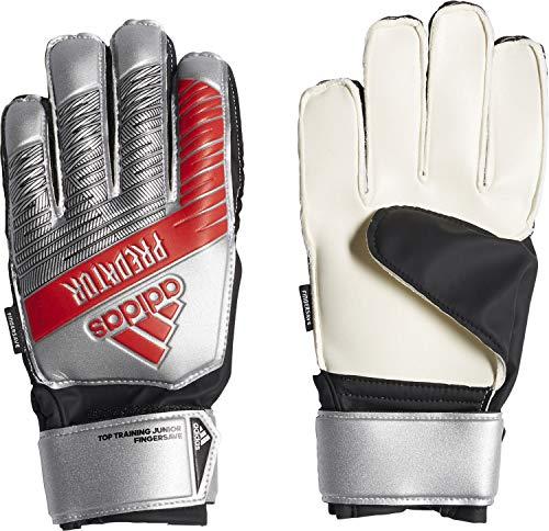 adidas Kinder Predator Top Training Fingersave Junior Torwarthandschuhe, Silver met./Black, 5