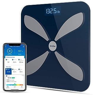 مقیاس چربی بدن هوشمند Wellue - مقیاس وزن بدن BMI دیجیتال برای ردیابی تناسب اندام و سلامت ، مقیاس توزین بی سیم حمام با دقت بالا ، مانیتور ترکیب بدن بلوتوث با برنامه ، 396 پوند