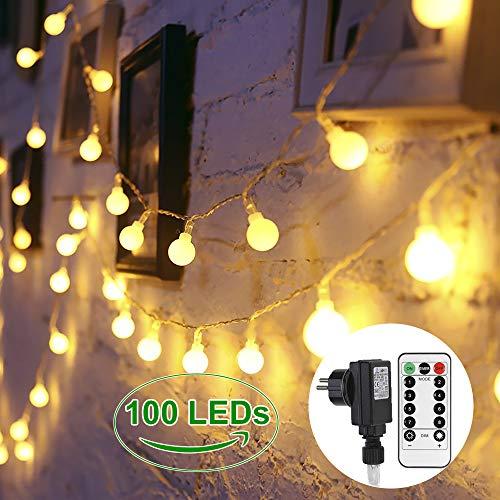Lichterkette Glühbirnen 100 LEDs GREEMPIRE Innen und Außen Lichterkette Strombetrieben Outdoor für Garten Kinderzimmer mit Fernbedienung 13.3M EU Stecker Wasserdicht für Balkon Party (Warmweiß)