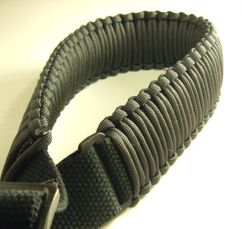 550 lb Paracord Survival 2-Point Gun/Rifle Sling (Black, 1.25' Wide Canvas)
