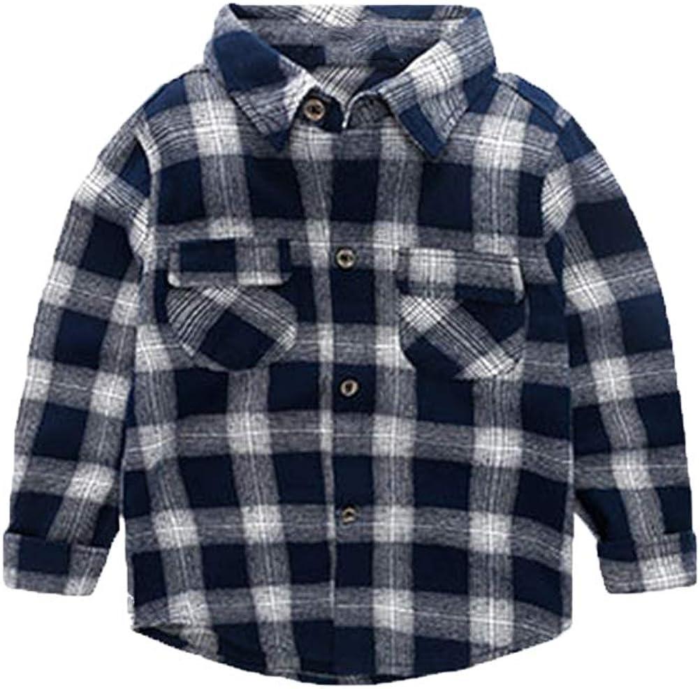 Mallimoda Boys Button Down Shirt Casual Long Sleeve Kids Plaid Top Shirts