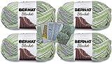 Bernat Blanket Yarn - Big Ball (10.5 oz) - 4 Pack with Pattern Cards in Color (Lilac Leaf)