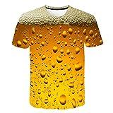 QQAQQ Camiseta Hombre,Camiseta con Estampado Digital De Burbujas De Cerveza para Hombre-0096_4XL