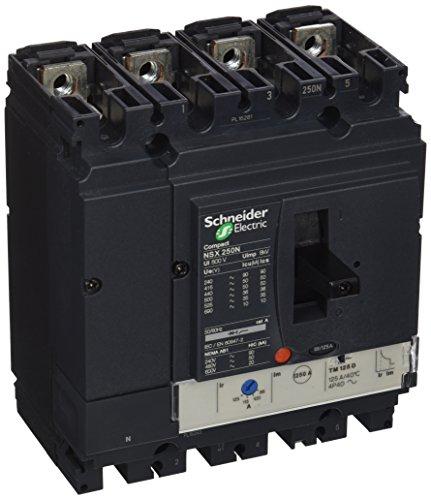 Schneider Electric LV431853 NSX250N Interruptor Automático Compact, TMD, 125A, 4 Polos 4R, 161mm x 140mm x 86mm