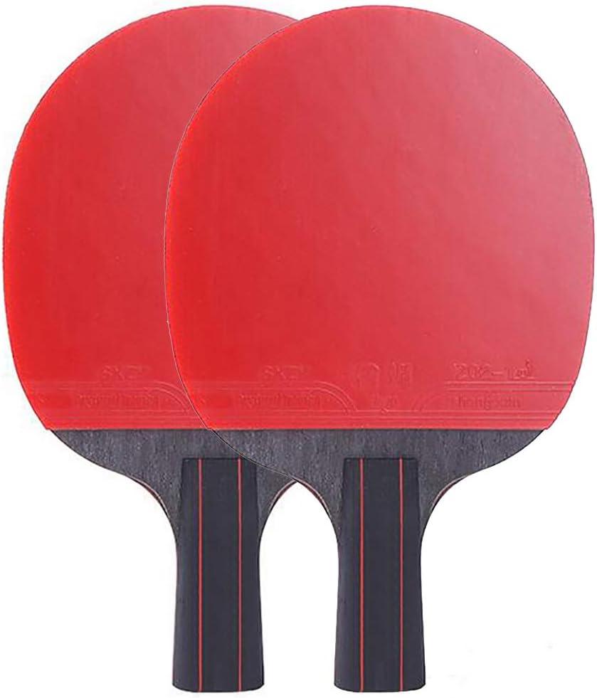 ANJING Juego de 2 Palas de Tenis de Mesa de Fibra de Carbono, Paleta de Ping Pong con agarres de Goma para Principiantes