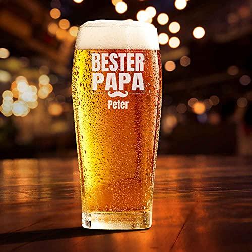 Smyla Bierglas mit Gravur für den Vatertag | Best Dad Ever | Personalisierte Biergläser 0,5 mit Wunsch-Namen | Bier Geschenk selbst gestalten | Hochwertiges Glas Geschenk-Idee
