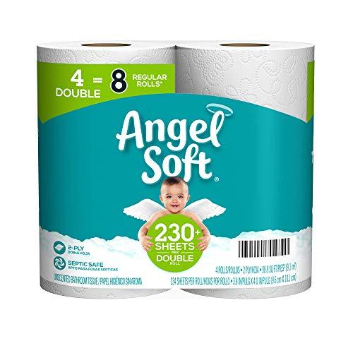 Angel Soft Toilet Paper, 4 Double Rolls = 8 Regular Rolls, 230+ 2-Ply Sheets Per Roll