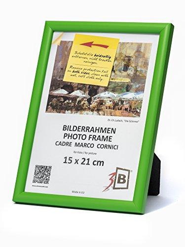 3B Cornice ULM 15x21 cm - Verde - Cornice in Legno, Foto, da Parete e da Tavolo con Vetro Poliestere (Foglio di plastica)