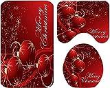 Navidad baño Mats Set, Baño Mats Set, for decoraciones de Navidad, Cuarto de baño elegante suave, E, 3SET, Tamaño: 4SET, Color: D (Color : B)