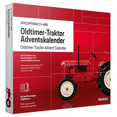 FRANZIS 67067 Porsche Oldtimer-Traktor Adventskalender 2019 | in 24 Schritten zum Porsche Master 419 unterm Weihnachtsbaum | Für Sammler und Modellbau-Liebhaber | Ab 14 Jahren