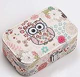 Caja de almacenamiento de maquillaje de búho Caja de joyería de viaje Pequeña caja de joyería de cuero PU para collar anillos pendientes (rosa)