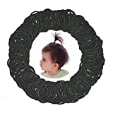 300 Pcs Baby Girls Hair Ties - Small Size Elastic Hair Ties for Baby Girls Infants Toddlers Multicolor Hair Bands Elastic Ponytail Holder (Black)