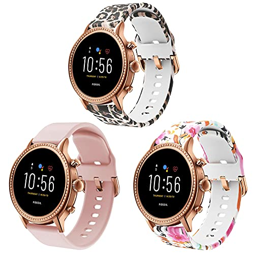 ViCRiOR Bands Compatible with Fossil Gen 5 Julianna Women's Smart Watch, 22mm Soft Silicone Fadeless Pattern Printed Floral Replacement Band for Fossil Gen 5 Carlyle.( Not for Gen 5E 42mm)