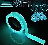 Gebildet Cinta Luminosa Glow in The Dark, Cinta Autoadhesiva Tape Fluorescente, Etiqueta de Seguridad, Cinta Impermeable para Decoración Hogar y Signo de la Noche (10M × 2CM, Azul)