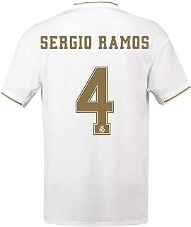 19-20 Season Real Madrid Soccer Jerseys #4 Sergio Ramos Football Shirts Mens Soccer Uniform (XL) White
