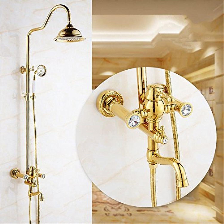Küche oder Badezimmer Waschtisch Armatur mit der S Tippen sind Goldene Dusche Wasser Dusche Wand tippen Sie auf das Messing Kopf- und Handbrause Booster volle Messing Wasser montiert S Dusche System tippen Sie auf eine