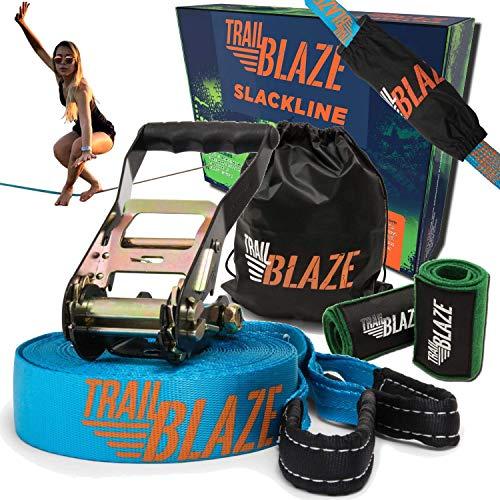 TRAILBLAZE Kit Slackline Completo – con Protezioni Alberi + Sacca Porta Slackline - Installazione Facile - Kit per Principianti da 15m per Camminate e Equilibrismo