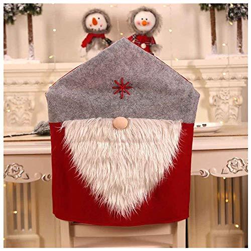 FENG Stuhlhussen,Weihnachtsmütze Stuhlhussen Rückenlehne Dekoration Weihnachten Festliche Home Dinner Table Party Decor (Grau)