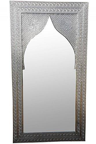 Orient Spiegel Wandspiegel Balqis 140cm groß Silber | Großer Marokkanischer Flurspiegel mit Holzrahmen orientalisch verziert | Orientalischer Vintage Badspiegel ohne Beleuchtung als Orientalische Deko