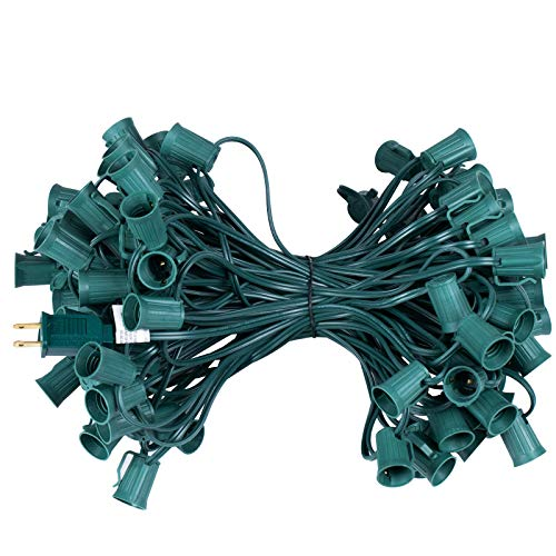 C9 Light Strand 100 FT for E17-12 Spacing, Outdoor String Light Christmas Stringer with 100 Sockets for Patio (Green)