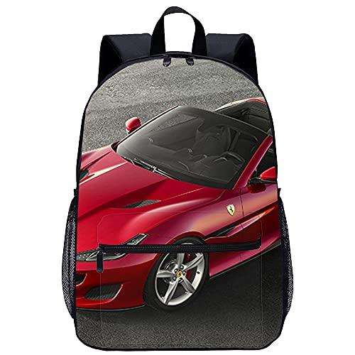 Mochila Infantil 3D Guardería Mochila Superdeportivo Ferrari Portofino Adecuado para: estudiantes de primaria y secundaria, la mejor opción para viajes al aire libre Tamaño: 45x30x15 cm / 17 pulgad