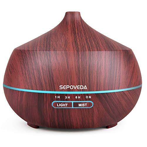 SEPOVEDA 400ml Humidificador Ultrasónico,Difusor Aceites Esenciales de Aire con LED de 7 Colores Sin BPA,Difusor Aromaterapia para Bebé/Yoga/Oficina-Castaño
