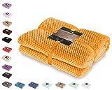 DecoKing 66232 Kuscheldecke 170x210 cm orange Decke Microfaser Wohndecke Tagesdecke Fleece weich sanft kuschelig skandinavischer Stil Henry