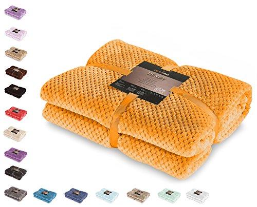 DecoKing 66218 Kuscheldecke 150x200 cm orange Decke Microfaser Wohndecke Tagesdecke Fleece weich sanft kuschelig skandinavischer Stil Henry