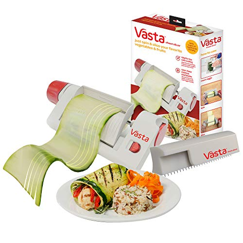 Vasta 2-in-1 Vegetable & Fruit Sheet & Noodle Slicer – BPA-Free, Stores Away Easily- Create Low Carb Veggie Sheets, Lasagna, Fettucine from Zucchini, Potatoes, Beets, Apples,– Keto, Vegan, Vegetarian