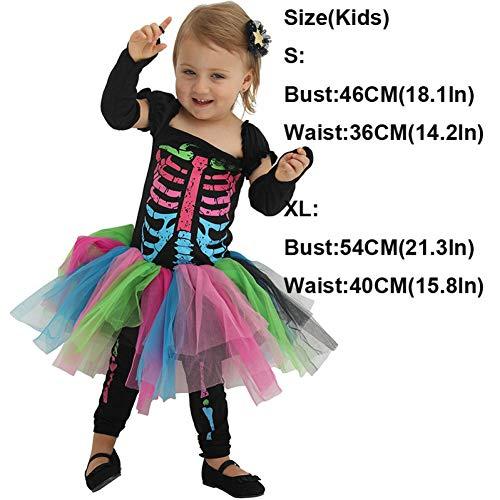 GBYAY 2019 Vestido de Halloween para Mujer Mono Aterrador Esqueleto Cosplay niños Disfraz de Calavera bebé niña Mamelucos Disfraz de Bruja Diablo