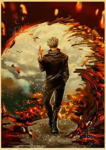 JHGJHK Manga Incantation Back to Battle Pintura al óleo de Manga Japonesa Pintura de decoración de Dormitorio Pintura de decoración de habitación de Ventilador de cómic 13