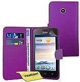 FoneExpert® Huawei Ascend Y330 Hülle Wallet Hülle Flip Cover Hüllen Schutzhülle Etui Ledertasche Lederhülle Premium Schutzhülle für Huawei Ascend Y330 + Bildschirmschutzfolie (Purple)