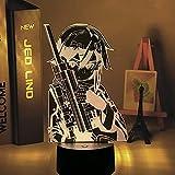 3D Night Light Anime Sword Art Online Sinon Figura para decoración de dormitorio, regalo de cumpleaños, habitación de luz nocturna LED manga SAO (sin mando a distancia) 7 colores sin control remoto
