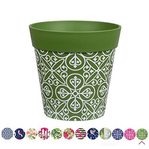 Hum Blumentöpfe, Marokkanische Fliese, grün, Pflanztopf, Pflanzgefäß aus Kunststoff für drinnen und draußen, 22 x 22cm