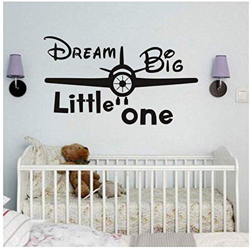 Cartoon Vliegtuig Vinyl Muurstickers Droom Grote Kleine Een Citaten Muurstickers Jongen Kwekerij Decal Removalbe Decor Baby Room42X73Cm