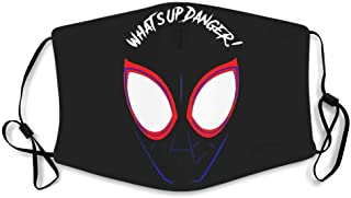 What's Up Danger! Printed Polyester Cotton Fiber Mouth Muffle Shield for Skiing Super hero white with 5 filters